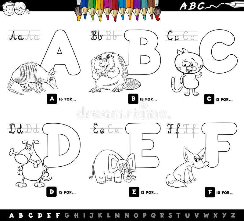 Letras educativas del alfabeto de la historieta para colorear ilustración del vector