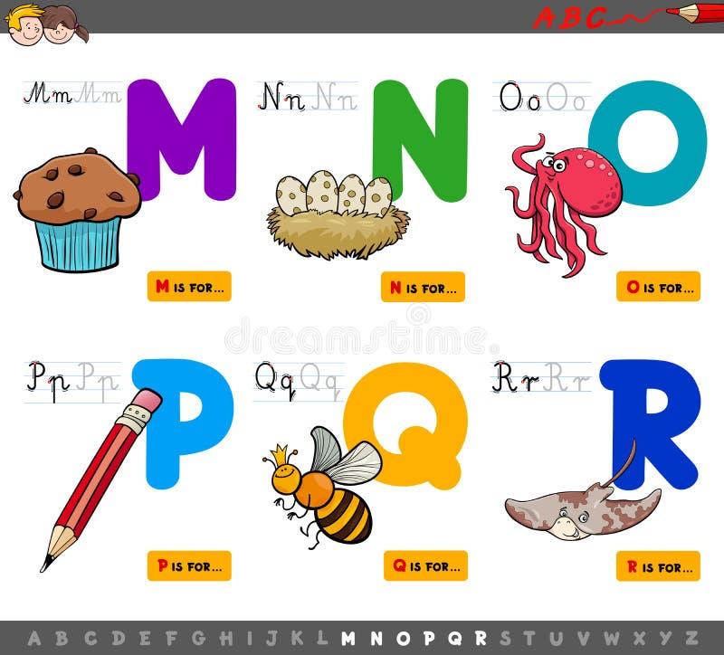 Letras educativas del alfabeto de la historieta para los niños ilustración del vector