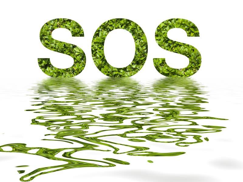 Letras el SOS de las hojas ilustración del vector