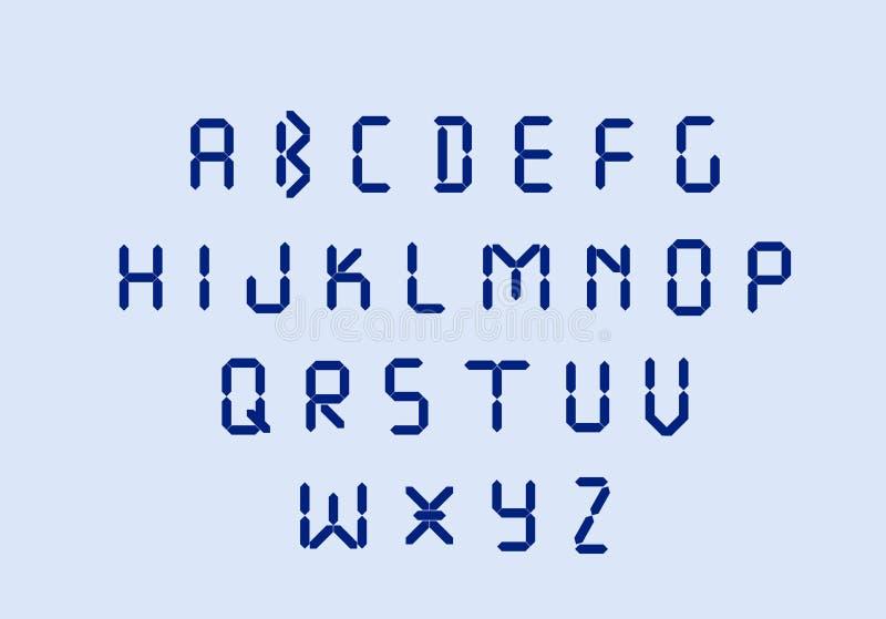Letras eletr?nicas azuis conduzidas do alfabeto digital ilustração stock