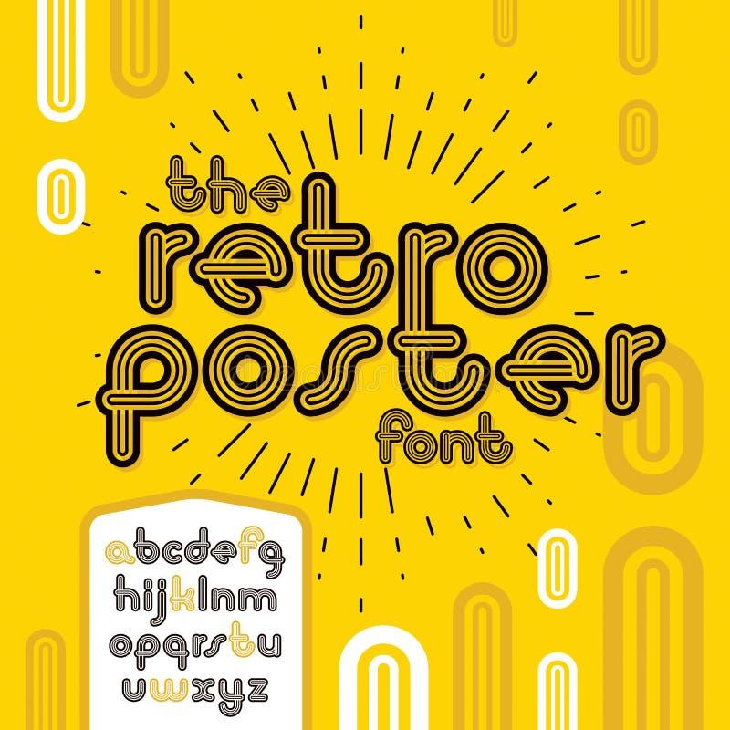 Letras enrrolladas minúsculas del alfabeto del disco del vector fijadas Fuente de moda, libre illustration