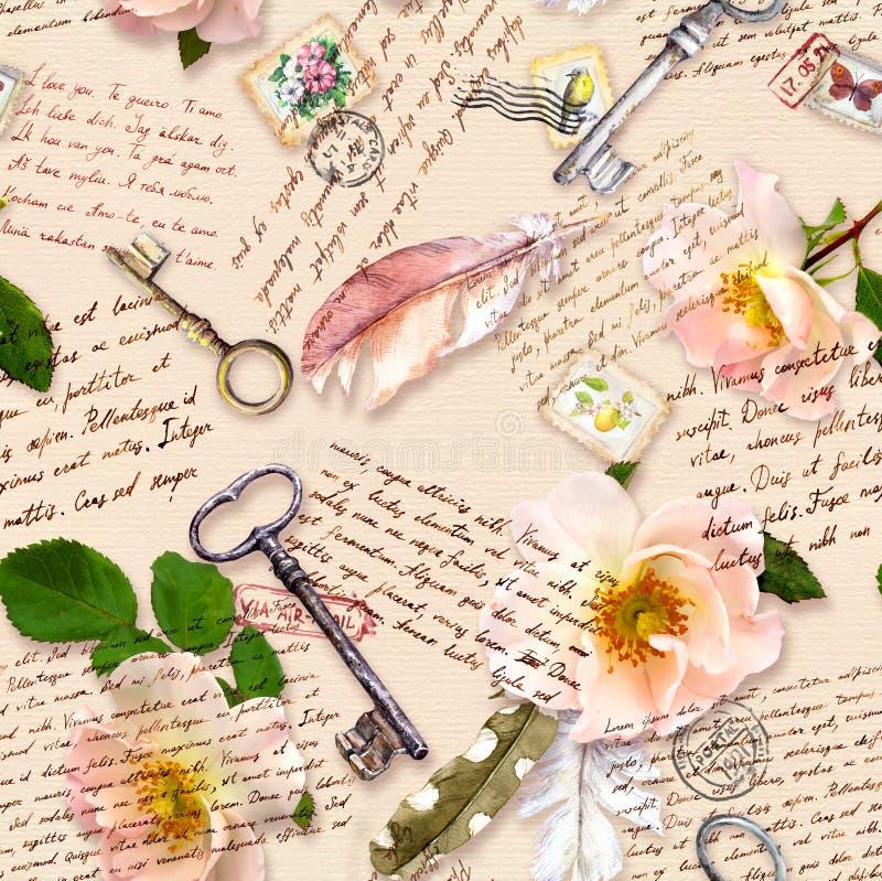 Letras escritas m?o, rosas selvagens, selos do cargo, penas da aquarela, chaves na textura de papel com texto Teste padr?o sem em ilustração stock