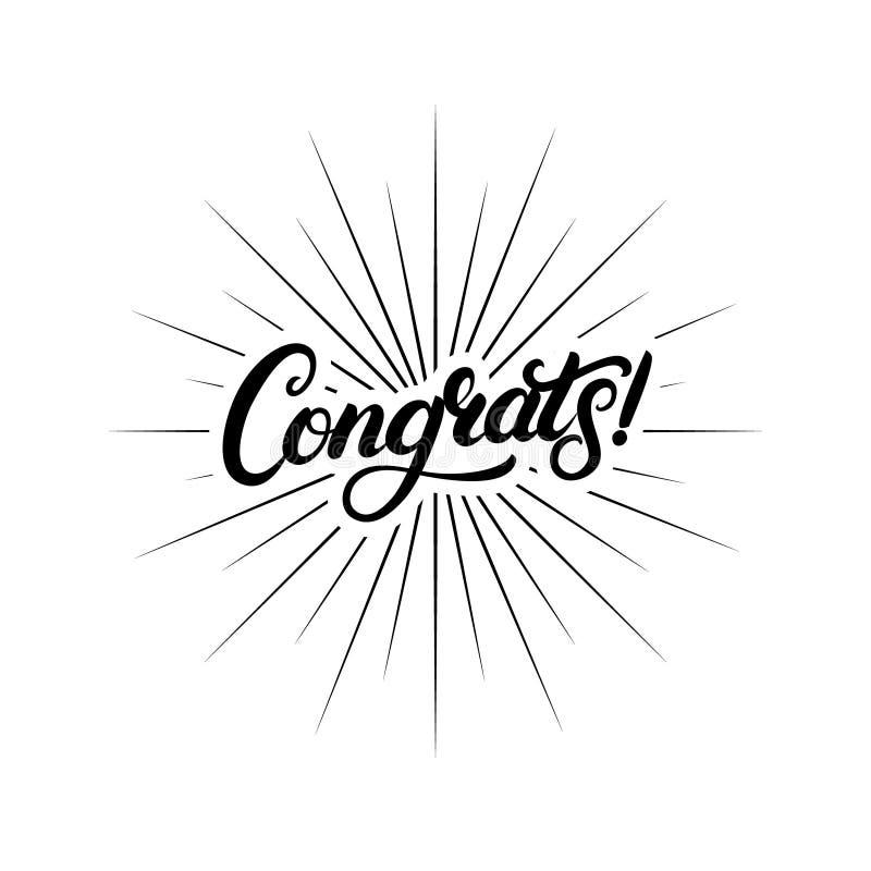 Letras escritas mano de Congrats para la tarjeta de la enhorabuena, la tarjeta de felicitación, la invitación, el cartel y la imp ilustración del vector