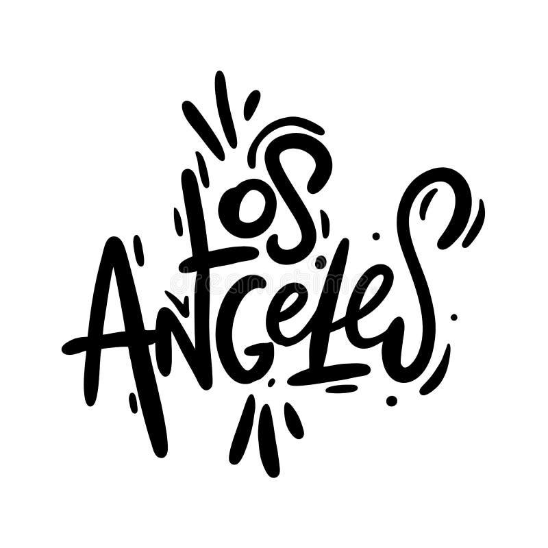Letras escritas mano del vector de Los Angeles Caligrafía moderna del cepillo Aislado en el fondo blanco libre illustration