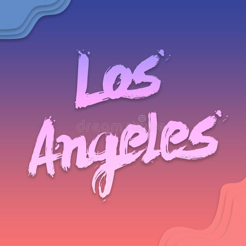 Letras escritas mano para la tarjeta, caligrafía moderna de Los Angeles del cepillo del clip art plano Aislado en fondo ejemplo e ilustración del vector