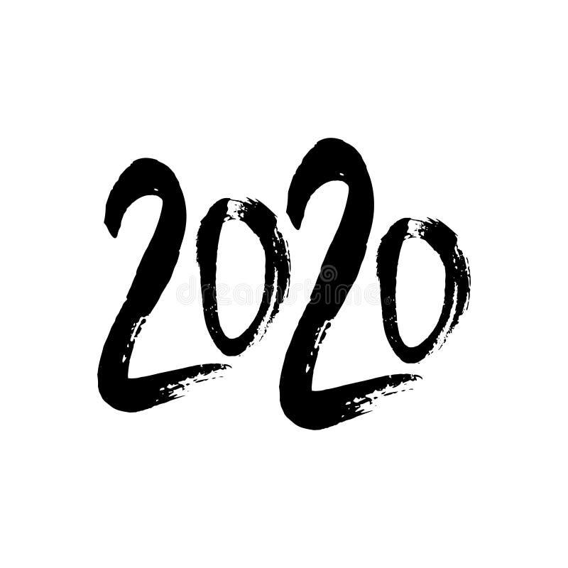 letras escritas 2020 manos aisladas en el fondo blanco Feliz A?o Nuevo 2020 libre illustration