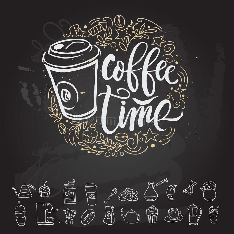 Letras estilizadas del vintage del inconformista del tiempo del café Ilustración del vector libre illustration