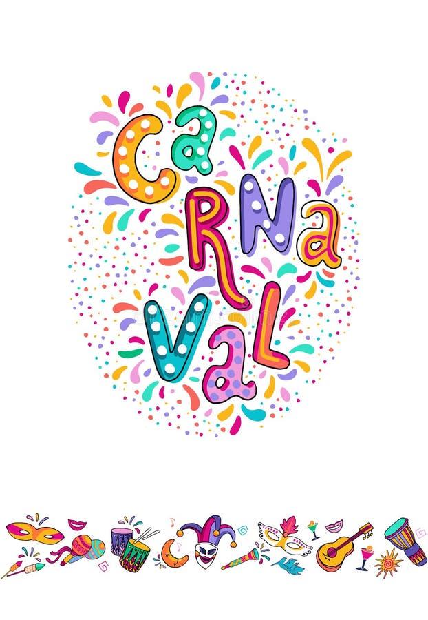 Letras exhaustas de Carnaval de la mano del vector Título del carnaval con los elementos del partido, el confeti colorido y la sa stock de ilustración