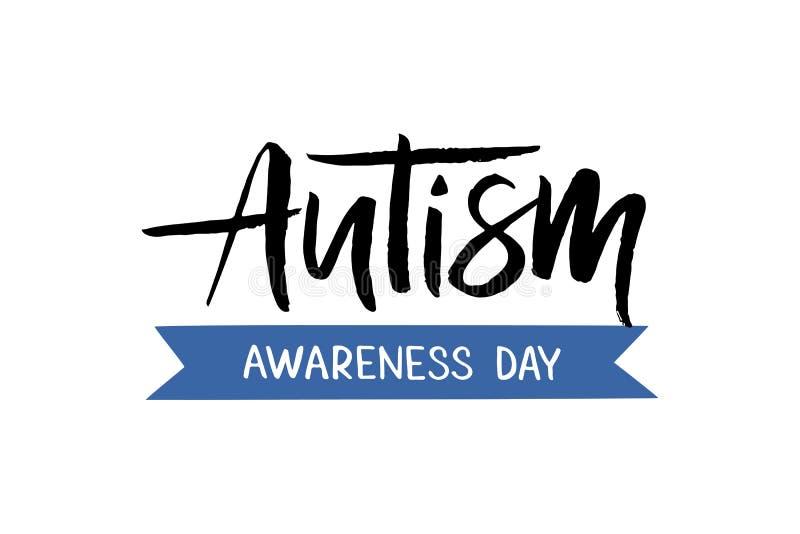 Letras exhaustas de la mano del autismo stock de ilustración