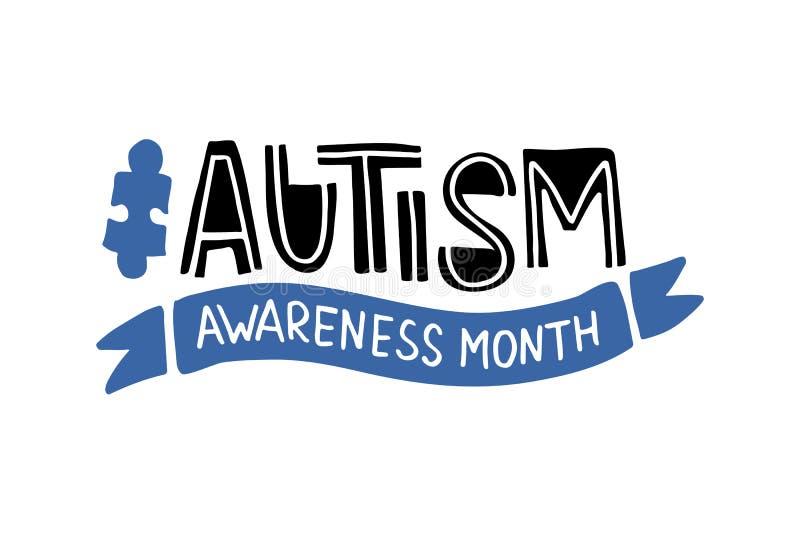 Letras exhaustas de la mano del autismo ilustración del vector