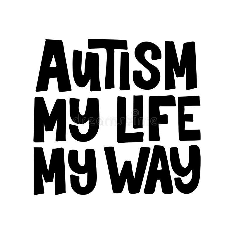 Letras exhaustas de la mano del autismo libre illustration