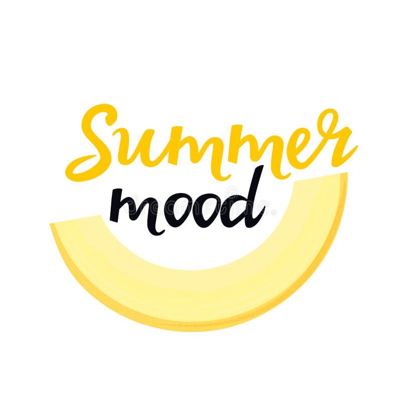 Letras exhaustas de la mano del humor del verano con una rebanada de melón Puede ser utilizado como diseño de la camiseta libre illustration