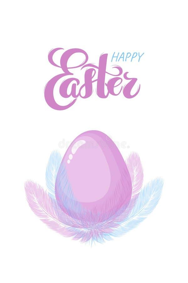 Letras exhaustas de la mano feliz de Pascua con las plumas exhaustas rosadas del huevo y de la mano del estilo plano como jerarqu ilustración del vector