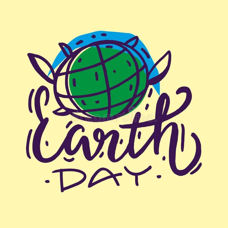 Letras exhaustas del vector de la mano del Día de la Tierra Aislado en fondo stock de ilustración
