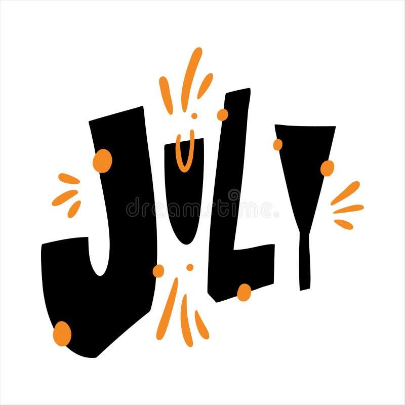 Letras exhaustas del vector de la mano de julio Plantilla de la invitación del verano stock de ilustración