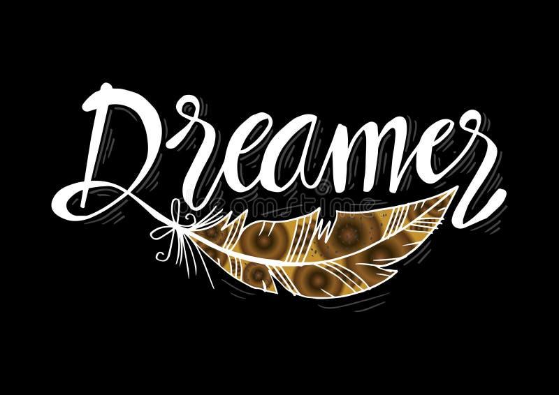 Letras exhaustas del vector de la mano del soñador ilustración del vector