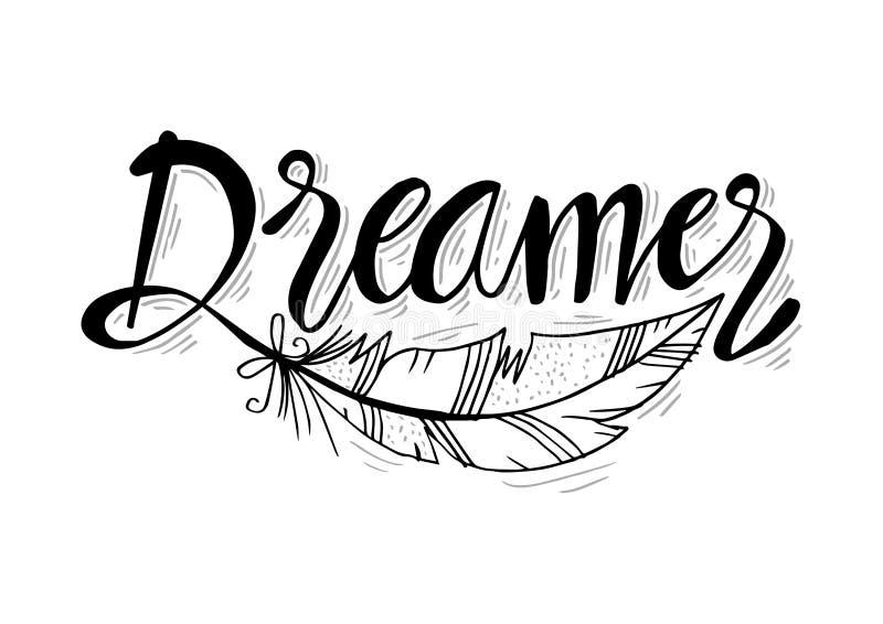 Letras exhaustas del vector de la mano del soñador stock de ilustración