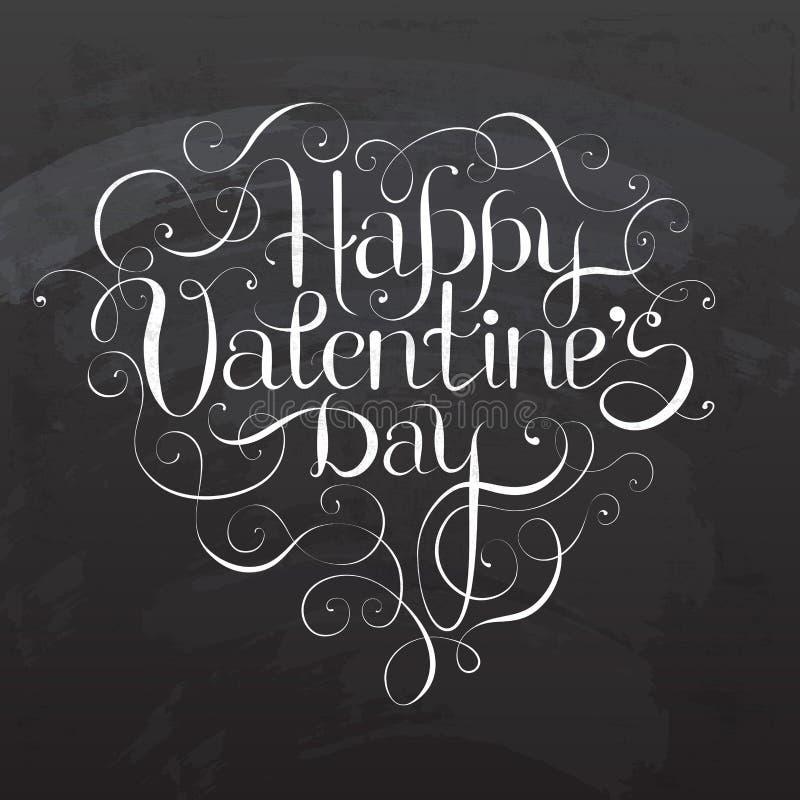 Letras felices de la mano del DÍA del ` s de la tarjeta del día de San Valentín ilustración del vector