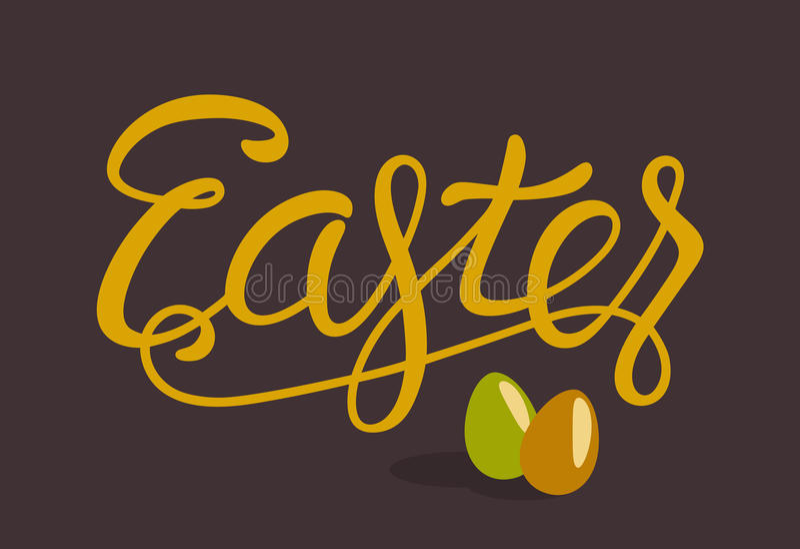 Letras felices de Pascua con los huevos aislados en Brown stock de ilustración