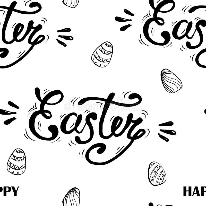 Letras felices de Pascua en fondo inconsútil Modelo inconsútil con los huevos Ilustración del vector ilustración del vector