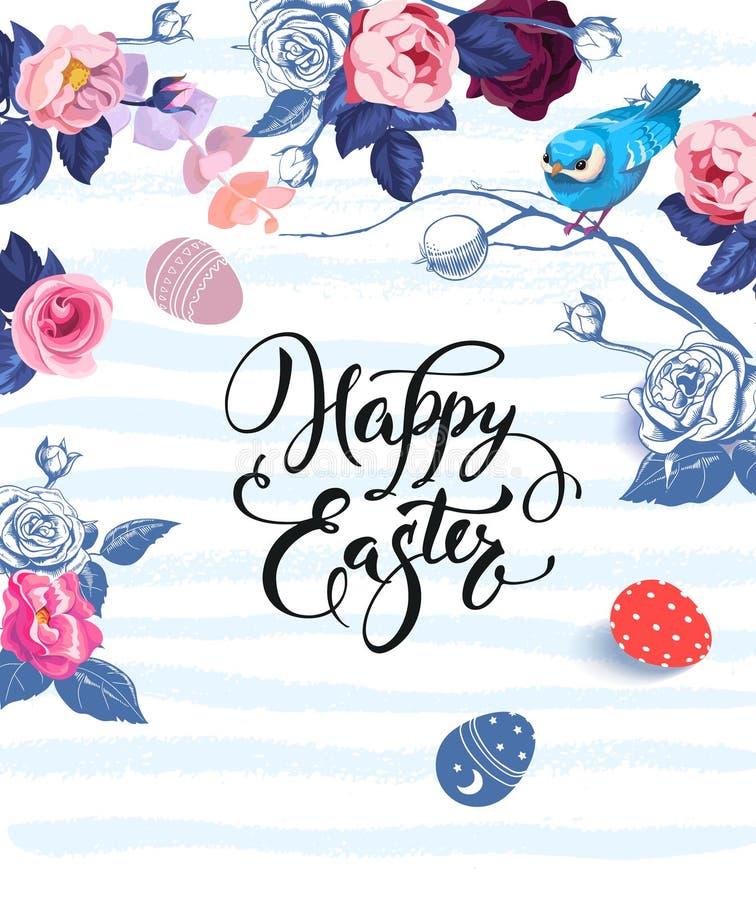 Letras felices de Pascua escritas con la fuente caligráfica, los manojos de rosas y el pequeño pájaro que se sienta en rama contr ilustración del vector