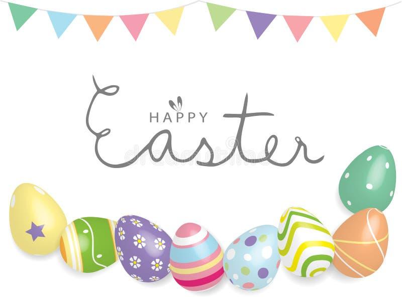Letras felices del texto de Pascua con la línea colorida ejemplo de los huevos 3D y de bandera del vector del fondo ilustración del vector
