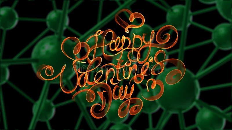 Letras felices del vintage del día de tarjetas del día de San Valentín escritas por el fuego o el humo anaranjado sobre fondo mol stock de ilustración
