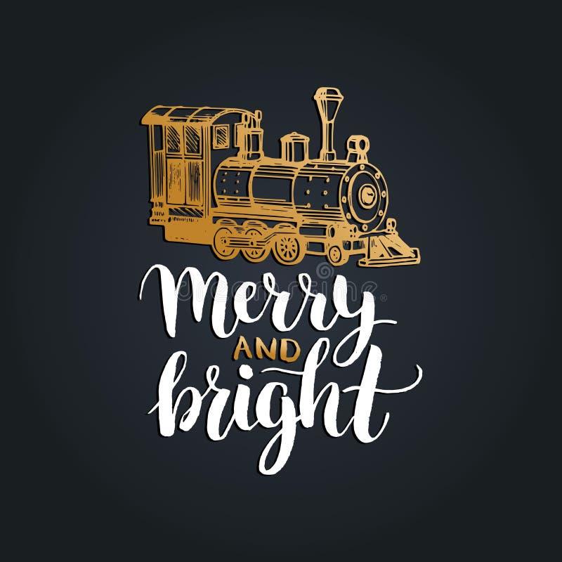 Letras felices y brillantes en fondo negro Ejemplo dibujado mano de la Navidad del vector del tren del juguete stock de ilustración