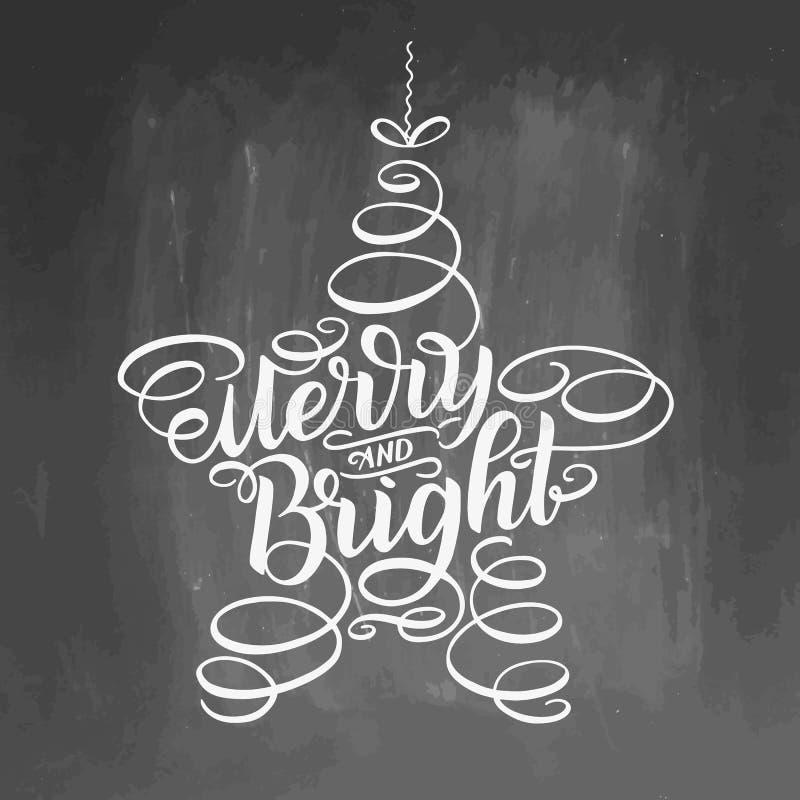 Letras felices y brillantes enmarcadas en juguete del árbol de la estrella Caligrafía dibujada mano que pone letras a citas inspi libre illustration
