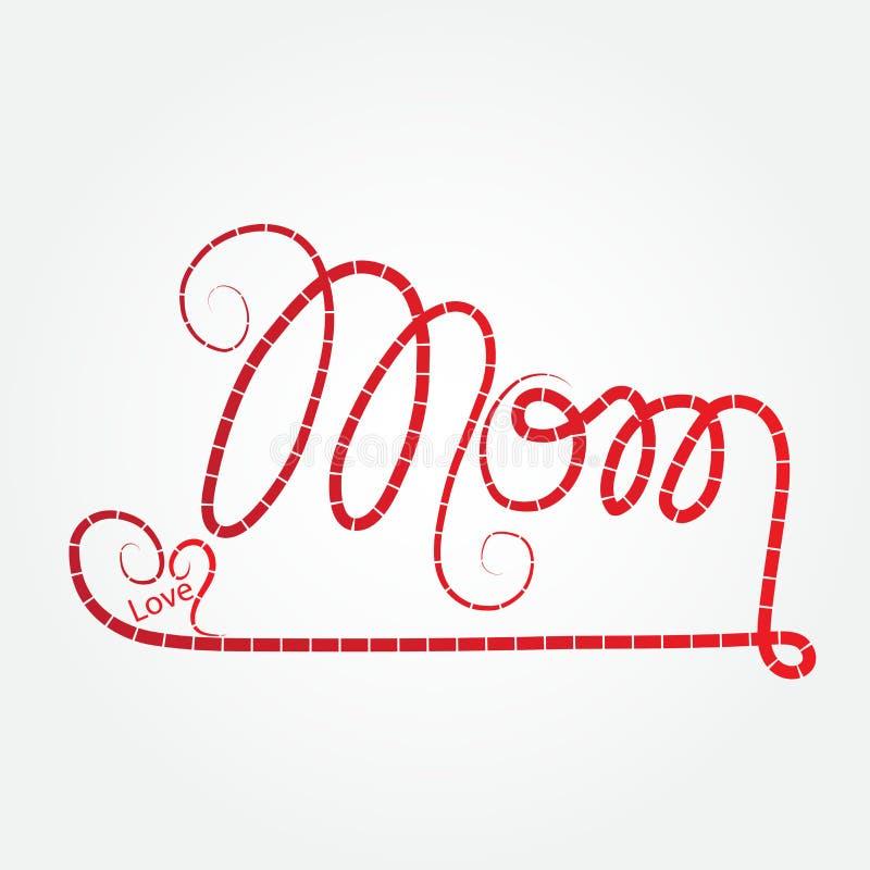 Letras felizes do alfabeto da mamã do dia de mães com a ilustração do teste padrão do coração do amor isolada no fundo branco ilustração do vetor