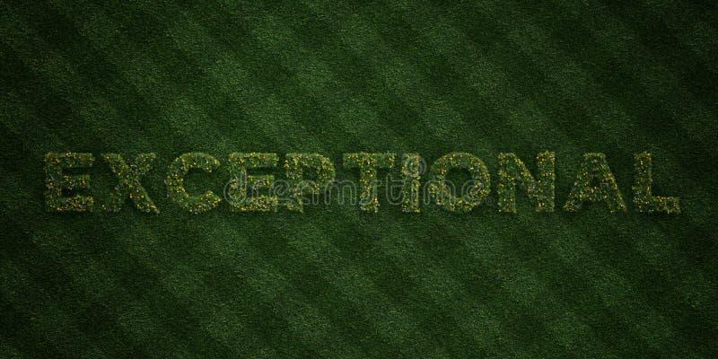 - Letras frescas da grama com flores e dentes-de-leão - 3D EXCEPCIONAL rendeu a imagem conservada em estoque livre dos direitos ilustração stock