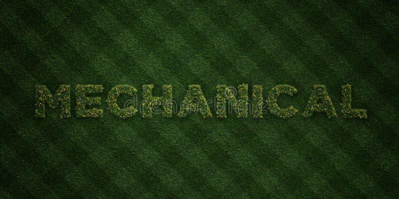 - Letras frescas da grama com flores e dentes-de-leão - 3D MECÂNICO rendeu a imagem conservada em estoque livre dos direitos ilustração stock
