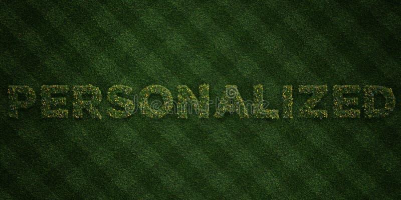- Letras frescas da grama com flores e dentes-de-leão - 3D PERSONALIZADO rendeu a imagem conservada em estoque livre dos direitos ilustração do vetor