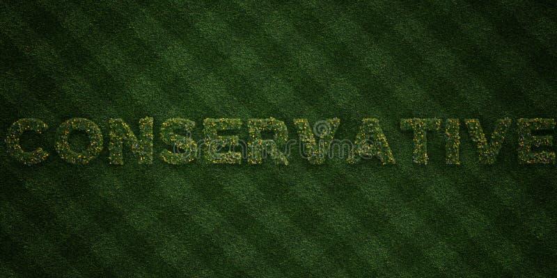 - Letras frescas de la hierba con las flores y los dientes de león - 3D CONSERVADOR rindió imagen común libre de los derechos stock de ilustración