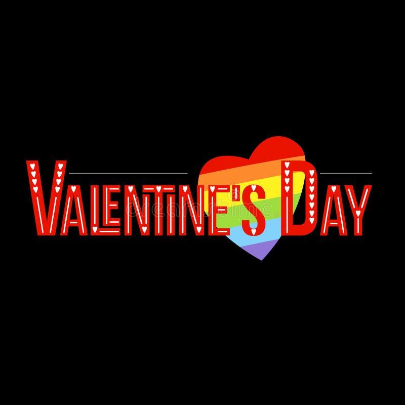Letras gay de día de San Valentín E Frase manuscrita del brillo colorido ilustración del vector