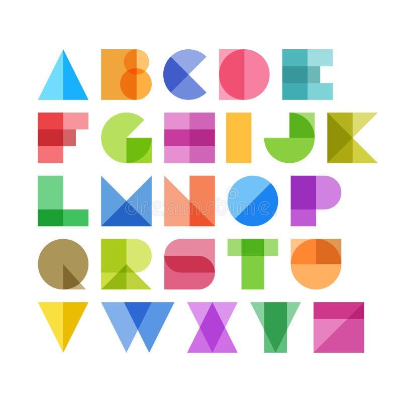 Letras geométricas do alfabeto das formas ilustração stock