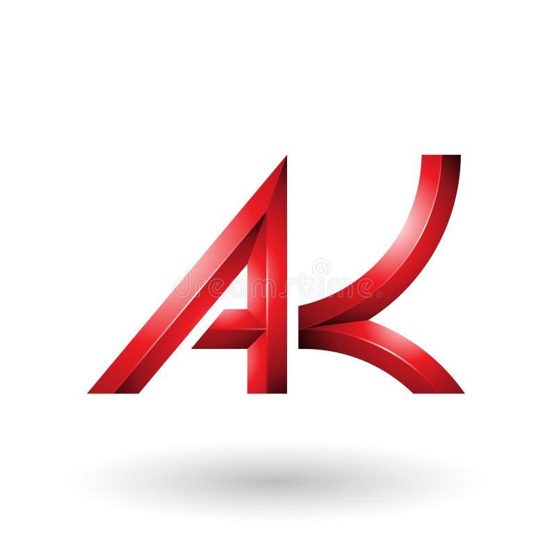 Letras geométricas intrépidas y con curvas rojas A y K aisladas en un fondo blanco ilustración del vector