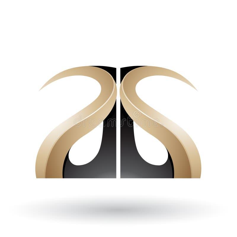 Letras grabadas en relieve con curvas brillantes beige y negras A y G stock de ilustración