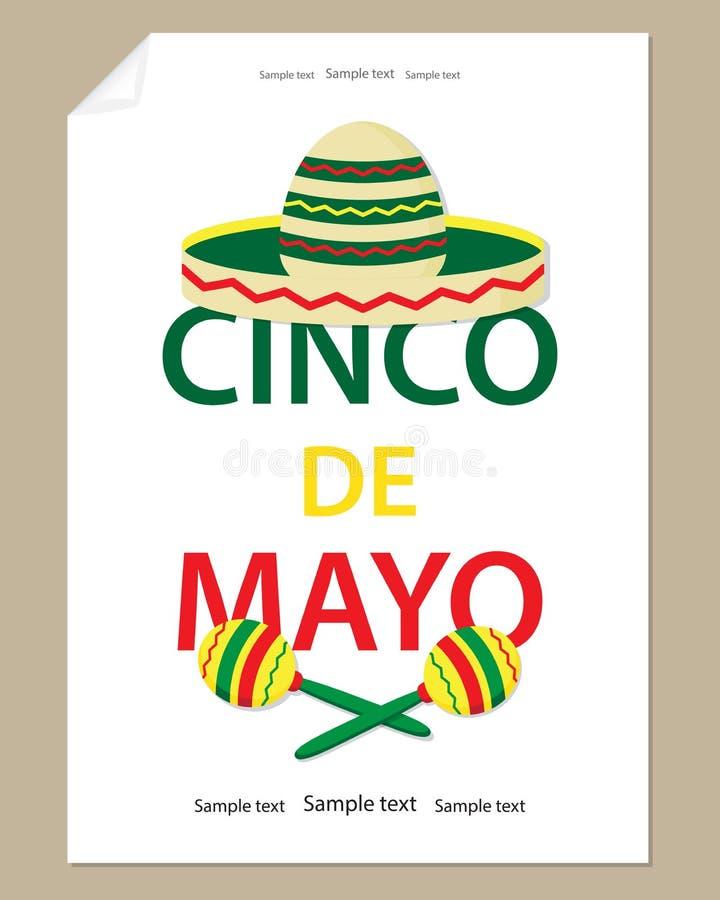 Letras grandes Cinco de Mayo, sombrero colorido y maracas El W libre illustration
