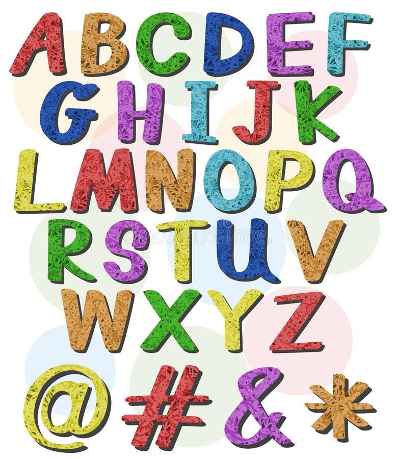 Letras grandes coloridas do alfabeto ilustração stock