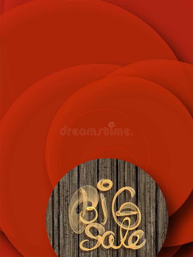 Letras grandes de la venta escritas con humo o la llama en fondo abstracto rojo por completo de círculos imagenes de archivo