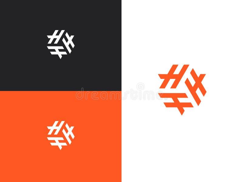 Letras H do logotipo tr?s Iniciais, molde do projeto do ?cone ilustração royalty free