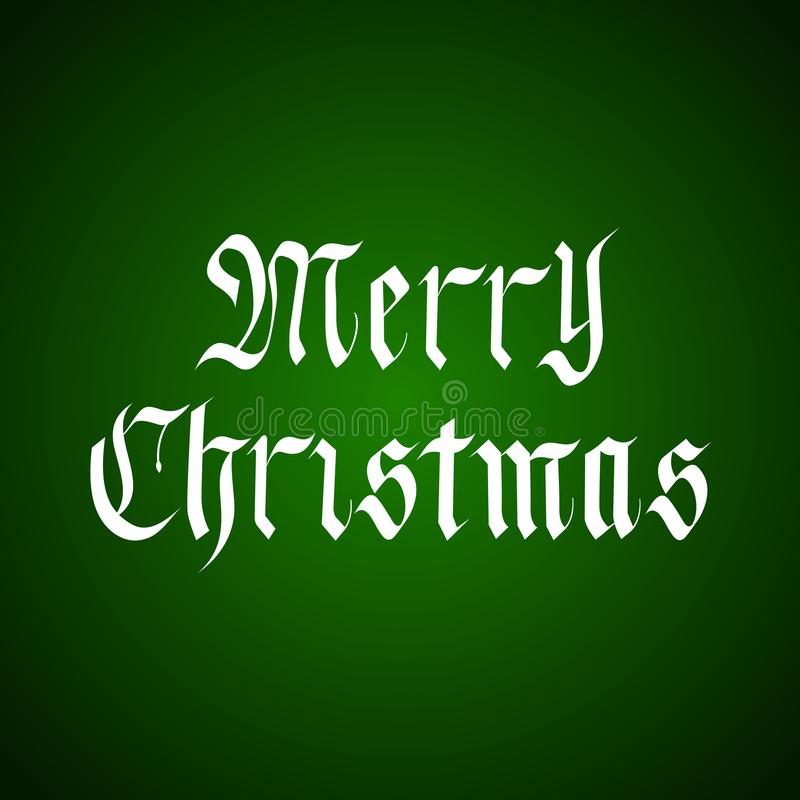 Letras Handdrawn de la Feliz Navidad del vector en estilo gótico sobre verde ilustración del vector