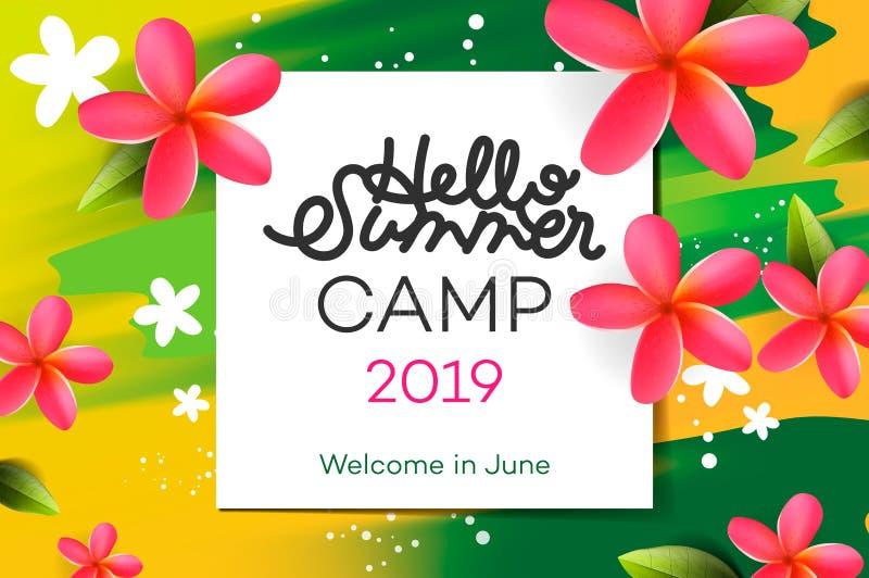 Letras handdrawn del campamento de verano 2019 en marco cuadrado en fondo de la acuarela con las flores tropicales Ilustración de libre illustration