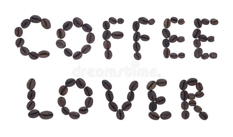 Letras hechas de AMANTE frito del CAFÉ del café imágenes de archivo libres de regalías