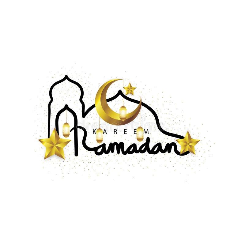 Letras hermosas de saludo de Ramadan Kareem con la luna y las estrellas crecientes del oro Mes santo del año musulmán stock de ilustración
