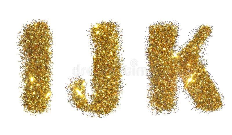 Letras I, J, K de la chispa de oro del brillo en el fondo blanco imagen de archivo libre de regalías