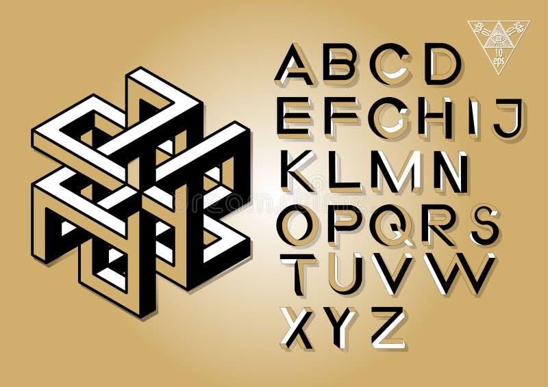 Letras imposibles de la geometría Fuente imposible de la forma stock de ilustración