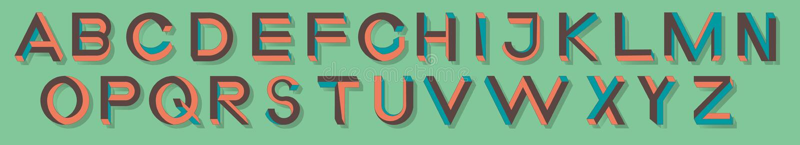 Letras imposibles de la geometría Fuente imposible de la forma Caracteres polivinílicos bajos 3d stock de ilustración