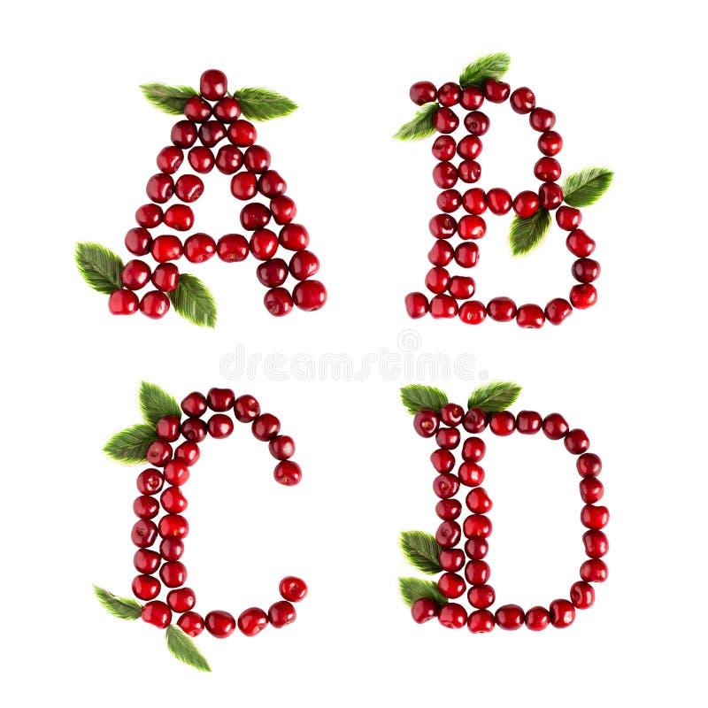 Letras inglesas del alfabeto de ABCD de cerezas dulces Aislante en el fondo blanco imagen de archivo